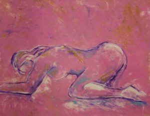 Woman on Pink monotype